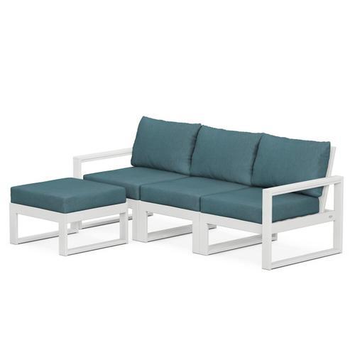 Polywood Furnishings - EDGE 4-Piece Modular Deep Seating Set with Ottoman in White / Ocean Teal
