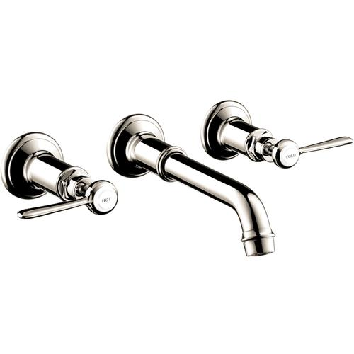 Polished Nickel 3-hole basin mixer for concealed installation wall-mounted with spout 165 - 225 mm and lever handles