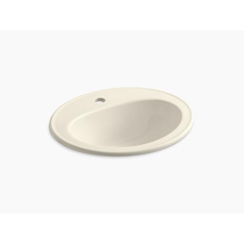 Almond Drop-in Bathroom Sink With Single Faucet Hole