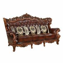 ACME Eustoma Sofa w/3 Pillows - 53065 - Cherry Top Grain Leather Match & Walnut