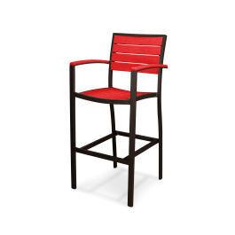 Polywood Furnishings - Eurou2122 Bar Arm Chair in Textured Bronze / Sunset Red