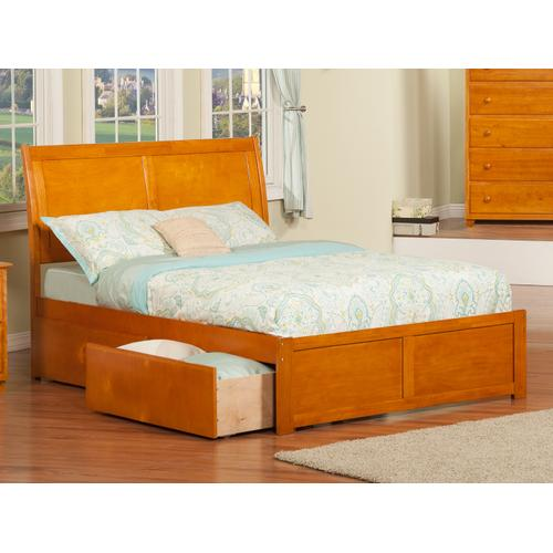 Portland Full Flat Panel Foot Board with 2 Urban Bed Drawers Caramel Latte