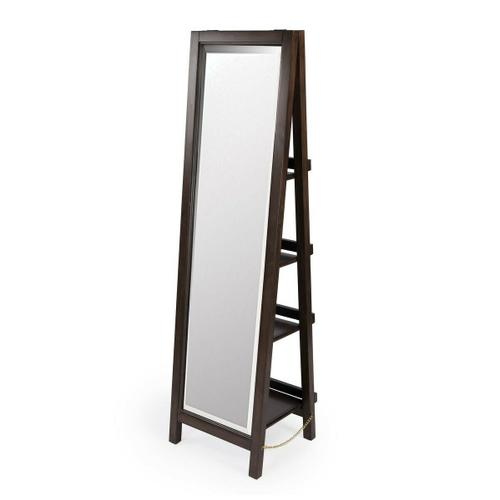 Amplify your bedroom, bathroom, or living room with this sleek floor standing cheval mirror with shelves. Its full-length beveled edge mirror has a dark coffee finished mahogany wood frame. The mirror's folding easel design makes it relatively effortless to move from one space to another, but the pi ce de r sistance is the shelving behind the mirror. Crafted from engineered wood and mahogany veneers, four shelves attached to the ladder-back easel fold flat to help support the mirror and provide convenient storage for jewelry, personal care items, and other accessories. It's sure to be a cherished.