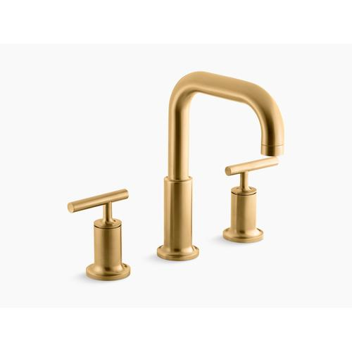 Vibrant Brushed Moderne Brass Deck-mount Bath Faucet Trim for High-flow Valve With Lever Handles, Valve Not Included