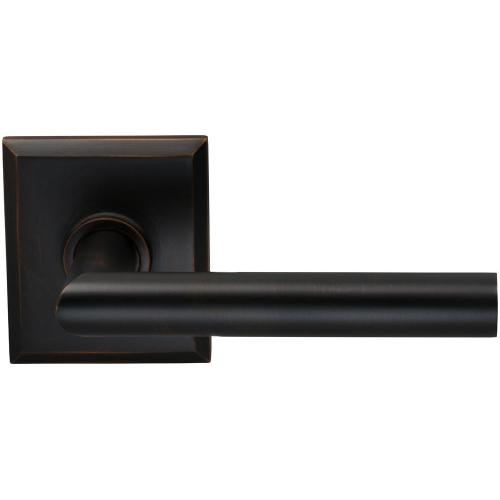 Interior Modern Lever Latchset with Rectangular Rose in (TB Tuscan Bronze, Lacquered)