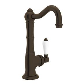 Cinquanta Single Hole Column Spout Kitchen Faucet - Tuscan Brass with White Porcelain Lever Handle