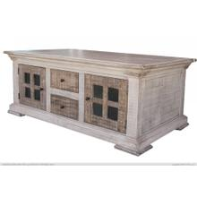 View Product - 4 Drawer, 4 Door Cocktail Table