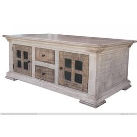 4 Drawer, 4 Door Cocktail Table