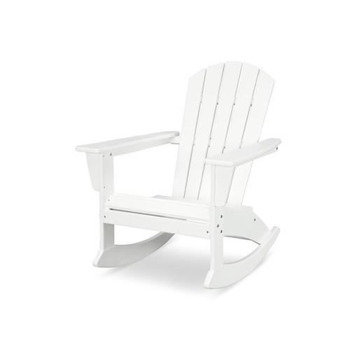 Vintage White Nautical Adirondack Rocking Chair