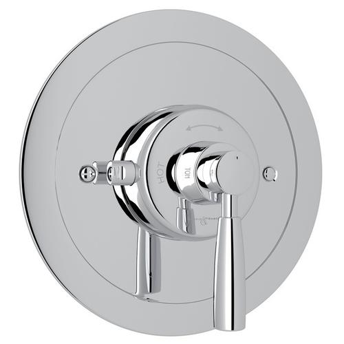 Polished Chrome Perrin & Rowe Holborn Thermostatic Trim Plate Without Volume Control with Holborn Metal Lever