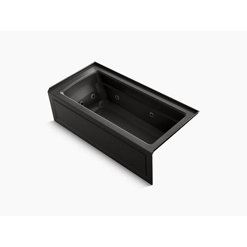 "Black Black 66"" X 32"" Integral Apron Whirlpool Bath With Bask Heated Surface, Integral Flange, and Right-hand Drain"