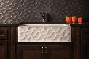 Wave Front Farmhouse Sink Carrara Marble Product Image