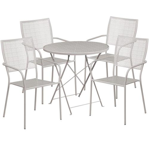 30'' Round Light Gray Indoor-Outdoor Steel Folding Patio Table Set with 4 Square Back Chairs
