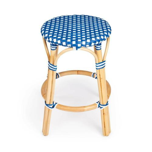 Evoking images of sidewalk tables in the Cote d'Azur, counter stools like this will give your kitchen or patio the casual sophistication of a Mediterranean coastal bistro. Expertly crafted from thick bent rattan for superb durability, it features weather resistant woven plastic in a blue and white pattern. This backless counter stool is lightweight for easy mobility with comfort to make the space it's in a frequent gathering place.