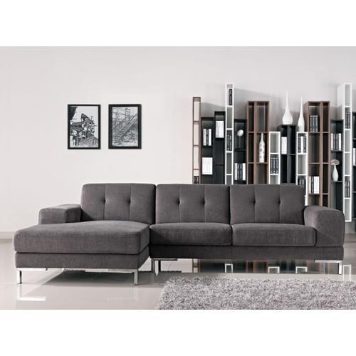 VIG Furniture - Divani Casa Forli - Modern Grey Fabric Left Facing Sectional Sofa