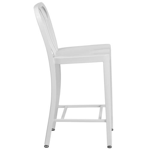 24'' High White Metal Indoor-Outdoor Counter Height Stool with Vertical Slat Back