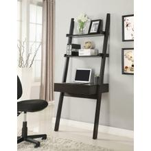 Transitional Cappuccino Wall-leaning Ladder Desk