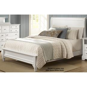 Sleigh Bed with Low Profile Footboard Queen & King (shown here in White)