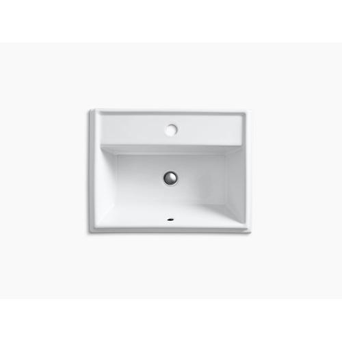 White Drop-in Bathroom Sink With Single Faucet Hole