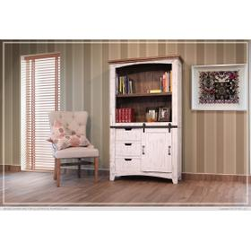 """See Details - 70"""" Bookcase w/3 drawers, 1 Sliding door & 1 Wooden middle Shelf - White finish"""