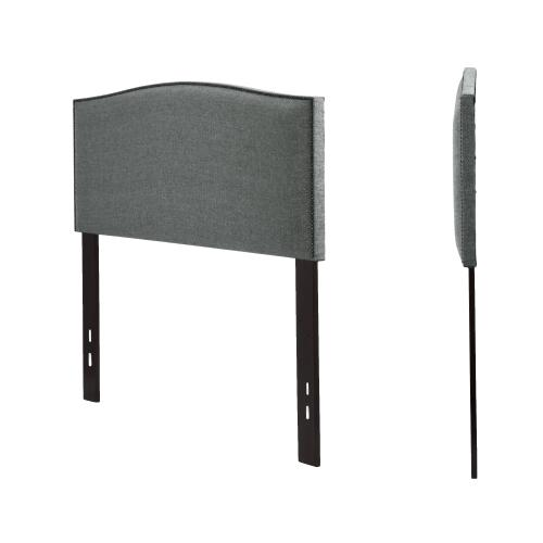 Leggett and Platt - Easton Upholstered Headboard with Adjustable Height and Sloping Nailhead Trim, Keystone Gray Finish, King / California King