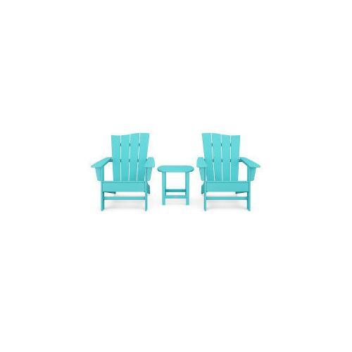 Polywood Furnishings - Wave 3-Piece Adirondack Chair Set in Aruba