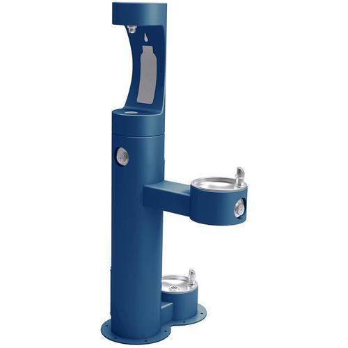 Elkay - Elkay Outdoor ezH2O Bottle Filling Station Bi-Level Pedestal, with Pet Station Non-Filtered NonRefrige Freeze Resistant Blue