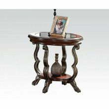 ACME Bavol End Table - 80121 - Cherry - Brown & Clear Glass