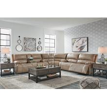 ASHLEY U43702-44-18-71 3-Piece Ricmen Putty Leather Sectional - Power Leather Reclining Sofa, Power Leather Reclining Loveseat And Leather Wedge