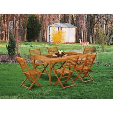 This 7 Pc Acacia Wooden Outdoor-Furniture Dining Sets includes one Outdoor-Furniture table and Six foldable Outdoor-Furniture chairs