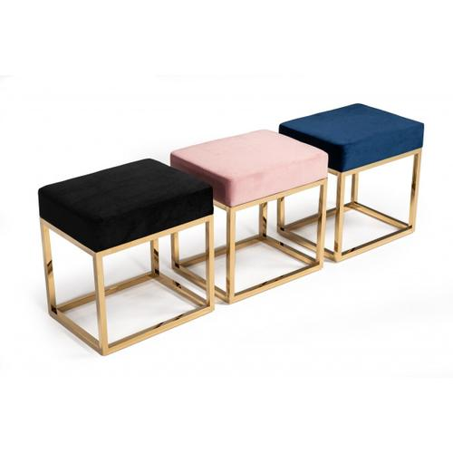 VIG Furniture - Modrest Downey Modern Black Velvet & Gold Stool Ottoman
