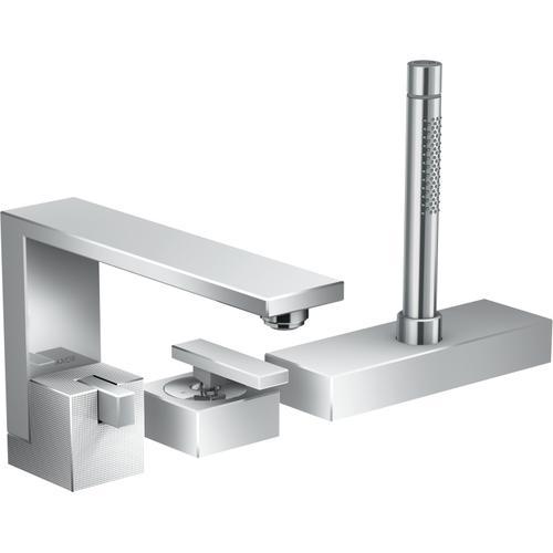 AXOR - Chrome 3-Hole Roman Tub Set Trim with 1.75 GPM Handshower - Diamond Cut