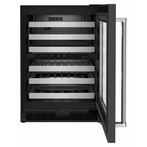 """KitchenAid - 24"""" Undercounter Wine Cellar with Glass Door and Metal-Front Racks - Black Stainless"""