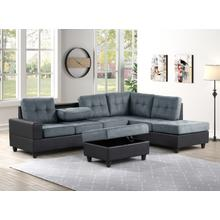 See Details - Albert Reversible Sectional with Drop Down Table and Storage Ottoman, Gray & Black