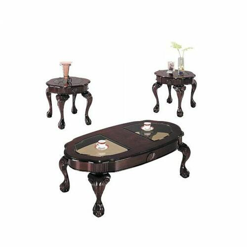 ACME Canebury 3Pc Pack Coffee/End Table Set - 08195 - Cherry & Glass
