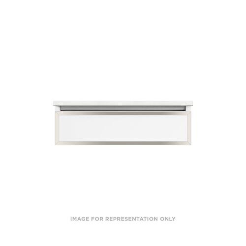 "Profiles 30-1/8"" X 7-1/2"" X 21-3/4"" Modular Vanity In Satin White With Polished Nickel Finish, False Front Drawer and Selectable Night Light In 2700k/4000k Temperature (warm/cool Light); Vanity Top and Side Kits Not Included"
