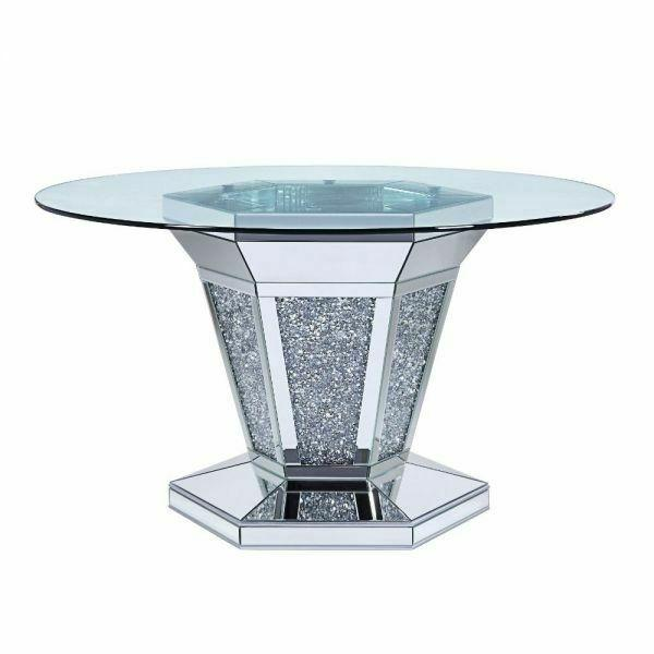 ACME Noralie Dining Table - 71285 - Mirrored - Faux Diamonds & Clear Glass