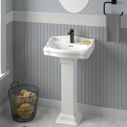 "Stanford 460 Pedestal Lavatory - 6"" Mini Widespread / White"