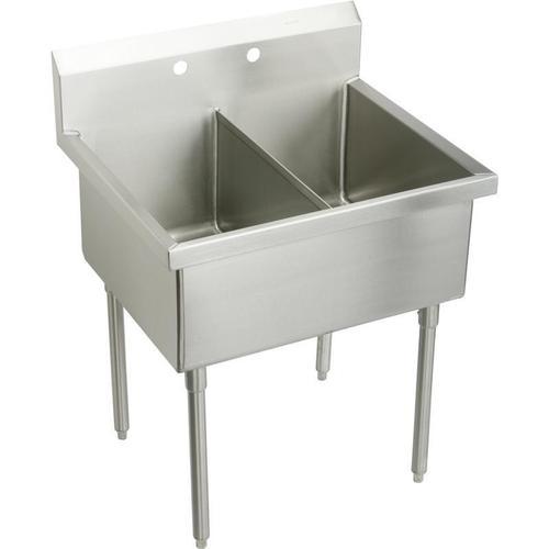 "Elkay Weldbilt Stainless Steel 33"" x 27-1/2"" x 14"" Floor Mount, Double Compartment Scullery Sink"