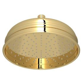"Unlacquered Brass 8"" Bordano Rain Anti-Calcium Showerhead"