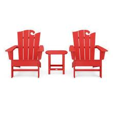 View Product - Wave 3-Piece Adirondack Set with The Ocean Chair in Vintage Sunset Red