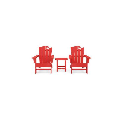 Polywood Furnishings - Wave 3-Piece Adirondack Set with The Ocean Chair in Vintage Sunset Red