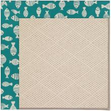 "Creative Concepts-White Wicker Go Fish Turquoise - Rectangle - 24"" x 36"""