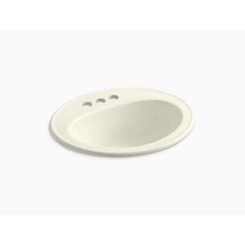 Biscuit Drop-in Bathroom Sink With Centerset Faucet Holes