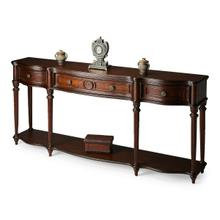 See Details - This gorgeous console exudes grandeur. Crafted from select solid woods, wood products and choice veneers, it features a shapely top, lower shelf and drawer fronts all done in cherry veneers. The legs have a fluted design with hand carved acanthus leaf detail. Three drawers with resin accents and antique brass finished hardware.