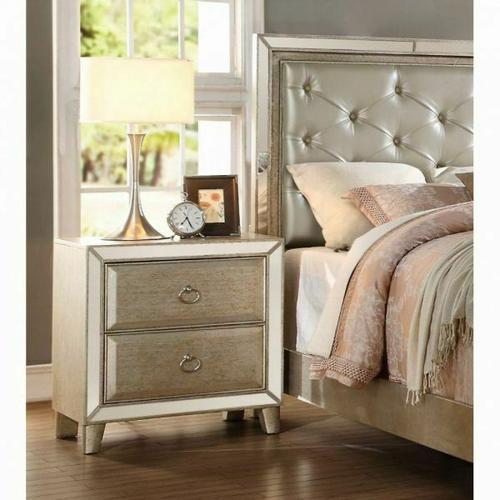ACME Voeville Nightstand - 21003 - Antique Silver