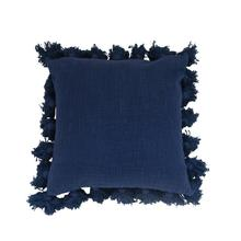 """See Details - 18"""" Square Cotton Pillow w/ Tassels, Navy"""
