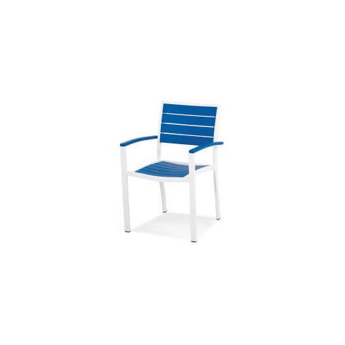 Polywood Furnishings - Eurou2122 Dining Arm Chair in Satin White / Pacific Blue