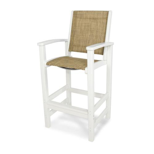 White & Burlap Coastal Bar Chair