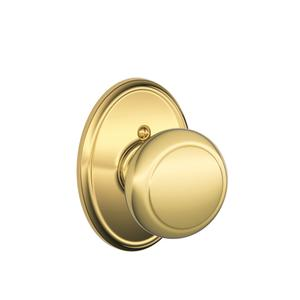 Andover Knob with Wakefield trim Non-turning Lock - Bright Brass Product Image